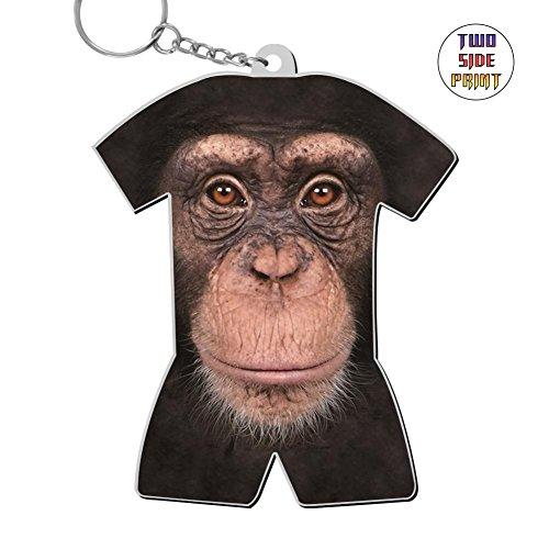 Chimp Face Zinc Alloy Metal 3D Printing Car Business key ring Best gift for friends boys girls (Face Chimp)
