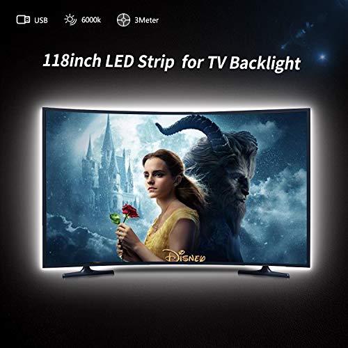 (LED Strip Lights, USB TV Lights 9.84ft LED Lights for 46 to 65in HDTV, Pure White 6000K Bias Lighting, Reduce Eye Strain, Improve Contrast. LED Light Strip for TV LED Backlight for Home Theater)