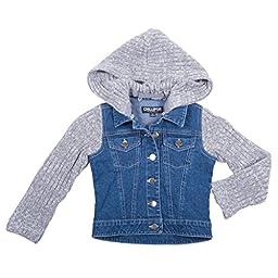 [39858-Grey-10/12] Girl\'s Jean Jacket: Denim Coat, Sweater Hood and Sleeves