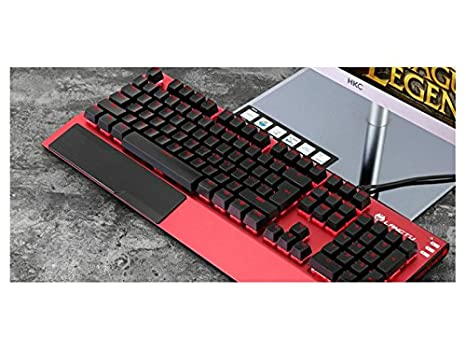 SUPRERHOUNG Computadora Teclado Mechanical Feel Steel Plate Aleación de Aluminio Siete teclados de luz de Fondo
