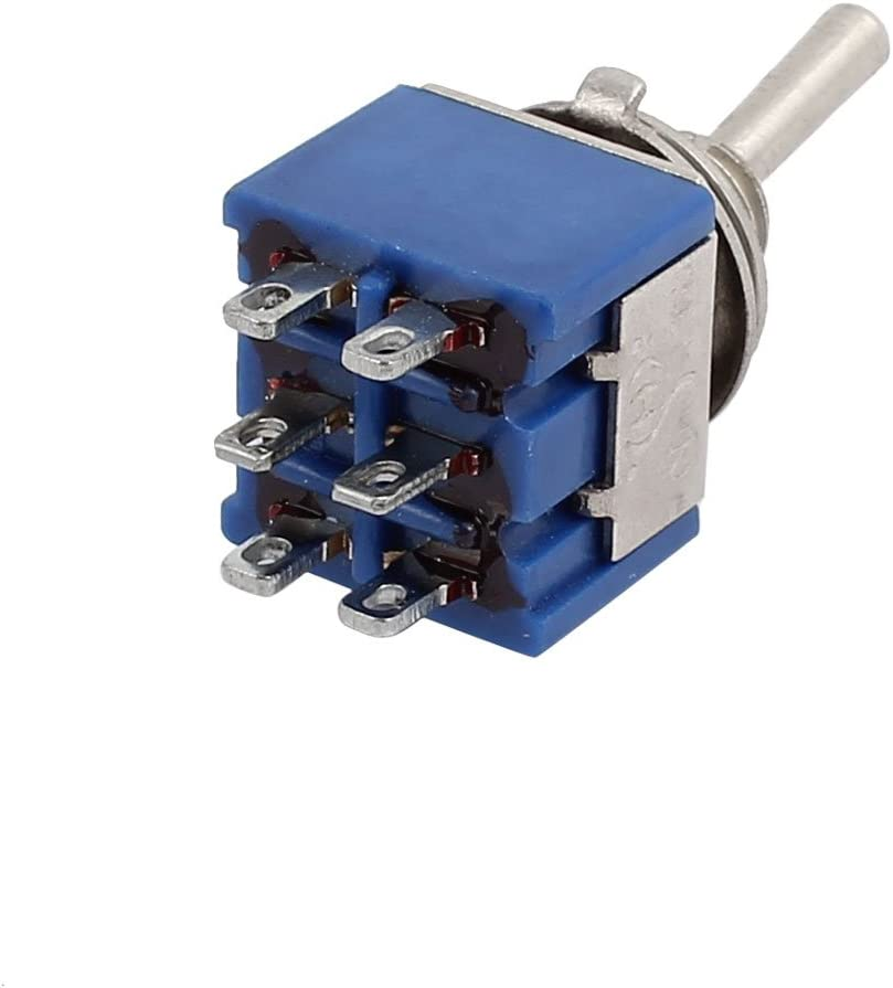 uxcell 3 Positions 6 Terminals DPDT Latching ON-Off-ON Mini Toggle Switch 6A 125V Blue