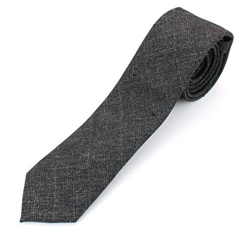Gold Green Stripe Silk Necktie - Men's Cotton Skinny Necktie Tie Distressed Weave Vintage Pattern - Dark Green