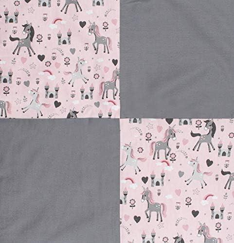 Lilakind® Couverture patchwork pour bébé Motif licornes Gris/rose