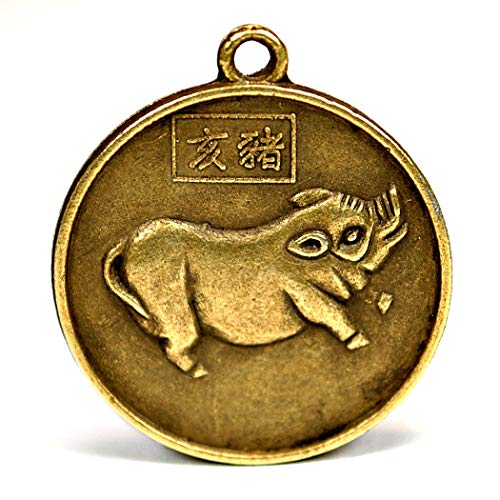 Allbest2you Chinese Zodiac Amulet Pendant Metal Coin Horoscope Lucky Pig Lunar Year