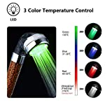 Temperature Control LED Handheld Shower Head Bathroom 3 Colors Changes Head Shower with Negative Ionic Filter Chlorine Saving Water Pressurize