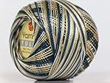 Variegated Grey Gold White - Yarn Art Tulip Size 10 Microfiber Thread - 50 Gram