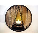 Custom Candle Sconce inspired by aged wine and whiskey barrel tops | Rustic Wall Decor | Handmade Personalized Gift | Wooden Hanging Wall Candle holder Sconce