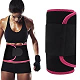 Singular point Waist Trimmer,Best Abdominal Trainer Fast Weight Loss Wrap Adjustable Sweat Belt for Men and Women Lumbar Support Increased and Stomach Fat Burner with Sauna Suit Effect (Rose red, M)
