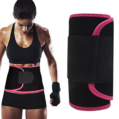 Singular point Waist Trimmer,Best Abdominal Trainer Fast Weight Loss Wrap Adjustable Sweat Belt for Men and Women Lumbar Support Increased and Stomach Fat Burner with Sauna Suit Effect (Rose red, -
