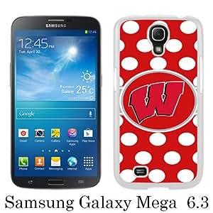 Samsung Galaxy Mega 6.3 case,Unique Design Ncaa Big Ten Conference Football Wisconsin Badgers 6 White cell phone case for Samsung Galaxy Mega 6.3 i9200 i9205