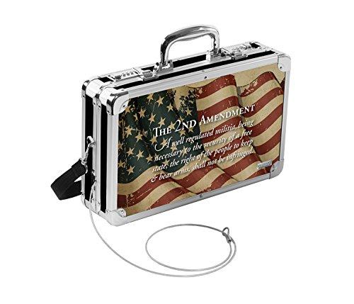 Vaultz Locking Hard-Sided Handgun Case, 14.5 x 3.5 x 10 Inches, 2nd Amendment Flag ()