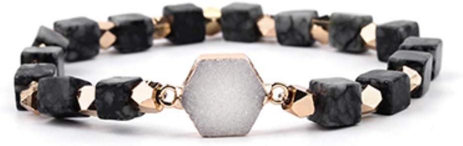 ZUXIANWANG Pulseras de Piedras semipreciosas Naturales Charm Bracelet Mujer Naranja Negro y Azul Cielo ágatas Pulsera Blanca Joyería Ágata Negra