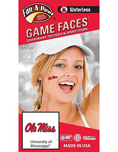 Fan A peel University of Mississippi (Ole Miss) Rebels - Waterless Peel & Stick Temporary Spirit Tattoos - 4-Piece - Red/Navy Blue Ole Miss
