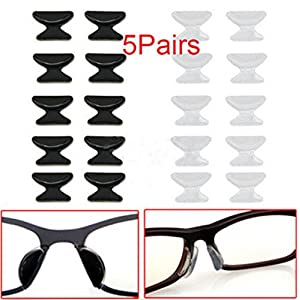 Shalleen (black) 5 Pair Anti-Slip Stick On Nose Pad Silicone Pad For Eyeglass Spectacles Sunglass