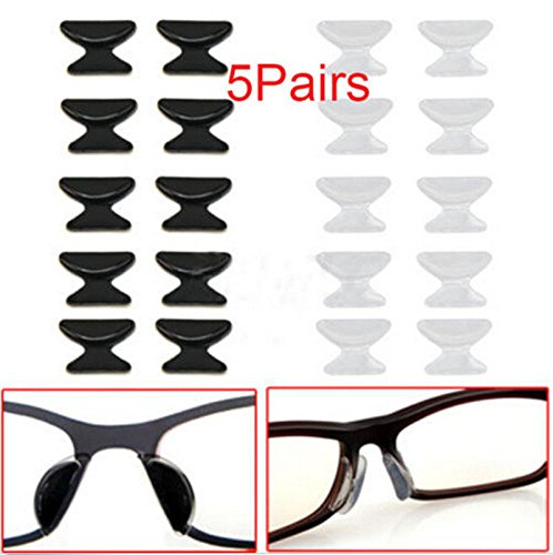 Shalleen (black) 5 Pair Anti-Slip Stick On Nose Pad Silicone Pad For (Spy Optic Drake Eyeglasses)