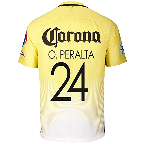 Nike O. Peralta #24 Nike Club America Home Men's Soccer Jersey 2016/17 (S)