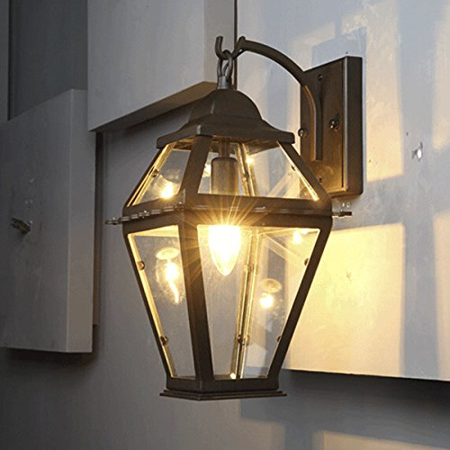Ruanpu industrial retro vintage black 1 light outdoor wall lamp wall light wall sconce with clear
