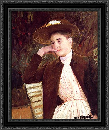 Celeste in a Brown Hat 24x20 Black Ornate Wood Framed Canvas Art by Mary Cassatt ()