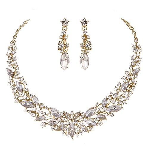 Gold Clear Rhinestone Necklace - Youfir Austrian Crystal Rhinestone Bridal Wedding Necklace and Earrings Jewelry Sets for Women (Gold-Clear)