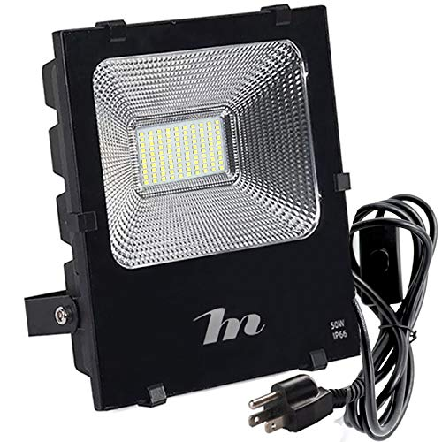 (LED Flood Light 50W,HN Waterproof Outdoor Spot Lights 5000lm Daylight 6500k Floodlights with US-3 Plug for Yard,Garage,Garden,Lawn)
