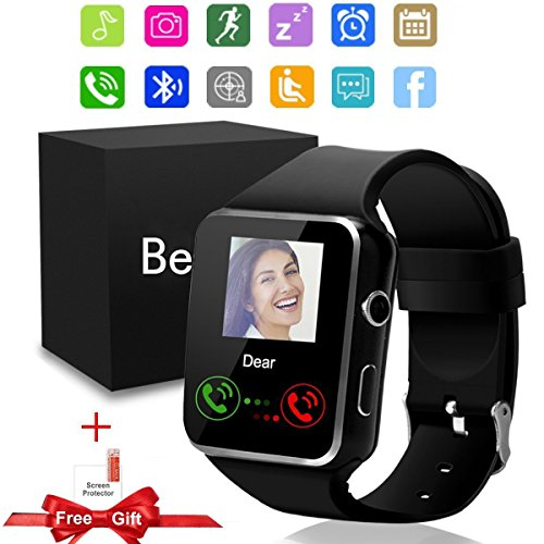 beaulyn Smartwatch, Bluetooth Smart Watch X6 with Camera Unlocked Watch Cell Phone Micro SIM Card Slot for Android and IOS Iphone Men Kids Women Curved Touch Screen