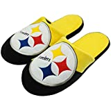 Forever Collectibles Officially Licensed NFL Team Logo Color Block Slide Style Slippers Assorted Teams and Sizes (Extra Large Shoe Size (13-14), Pittsburgh Steelers)