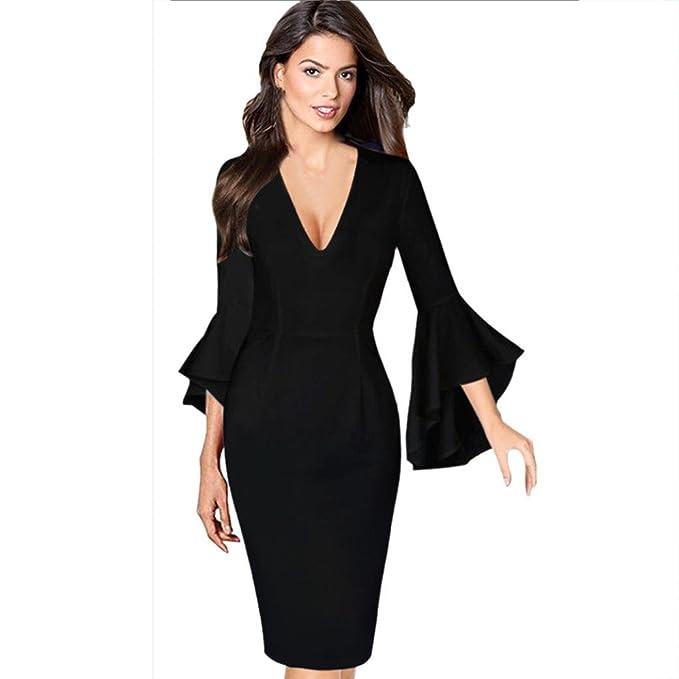 3280feabc6f6 Kleider Damen Dasongff Damen Reizvoller Abendkleid Etuikleid Bleistiftkleid  Tiefem V-Ausschnitt Langarmkleid Trompete Ärmeln Business