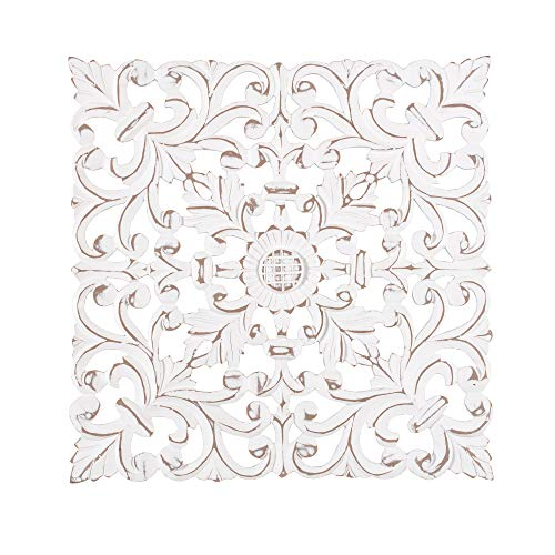 Madeleine Home Bianci Ornate Wall Sculpture   Hand Carved Wall Plaque, Contemporary Accent Home Décor Medallion with Exquisite Floral Baroque Design   15