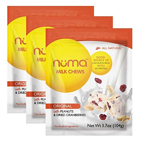 All-Natural Soft Nougat Candy - Low Calorie, Low Sugar, Gluten Free, 4g Protein per Serving, Creamy, Healthy Chewy Snack with Peanuts and Dried Cranberries - 3 Bags with 24 Individually Wrapped Chews]()