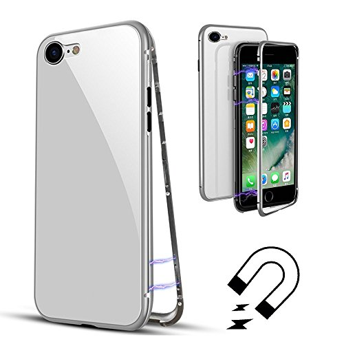 QLTYPRI Case for iPhone 6 6S, Metal Frame Magnetic Adsorption Case Transparent 9H Tempered Glass Back Aluminum Bumper Armor Ultra Slim Shockproof [Wireless Charging] Flip Cover - Full White