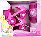 Disney Princess Rollerskates with Knee Pads, Junior Size 6-12 (J6-J9)