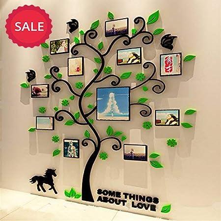 style 3 Alicemall Stickers Autocollants Muraux Amovibles 3D en Acrylique Arbre avec des Branches Incurv/ées et des Cadres de Photo feuilles rouges