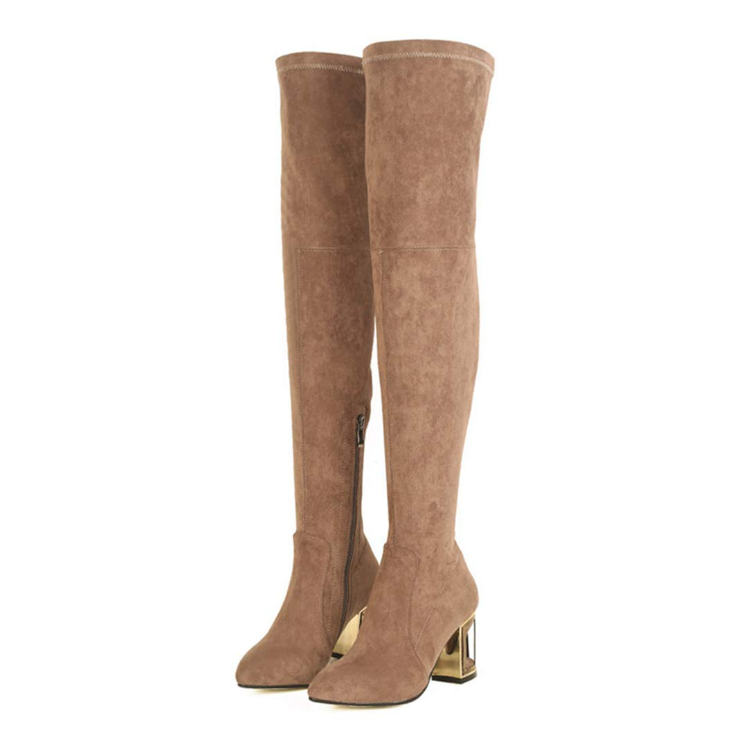 Brown Fur GEORPE Fashion Woman Pointed Toe Over The Knee Boots Suede Leather High Heels Boots