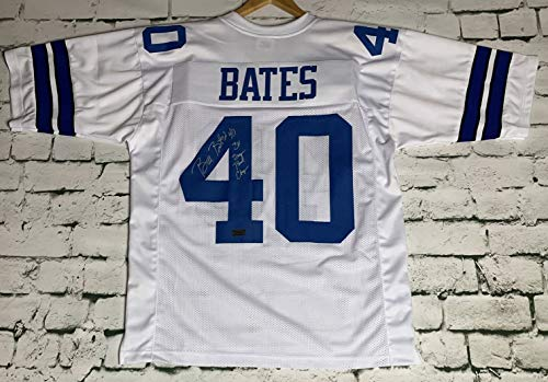 Bill Bates Signed Autographed Dallas Cowboys White Football Jersey - RSA Certified