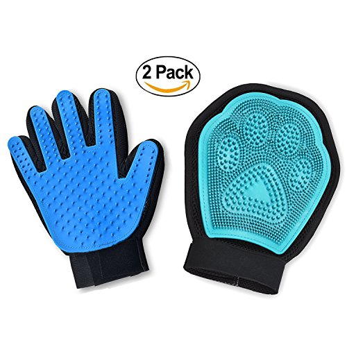 Pet Grooming Glove Kit,Set Of 2 - Jusdo 2 in 1 Pet Glove Hair Remover Mitt,Gentle Deshedding Glove and Massage Tool+Bathing Brush-Enhanced Five Finger Design-Comb for Dogs, Cats, Horses, Rabbits by Justdo