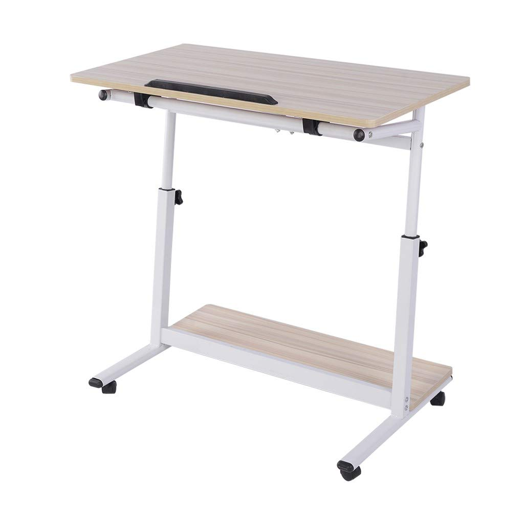 QIANSKY Computer Desk - Mobile Side Table Wheels Adjustable Portable Laptop Computer Stand - Notebook Tablet Beside Bed Sofa Portable Workstation - Over Bed Table - for Home Office (White) by QIANSKY