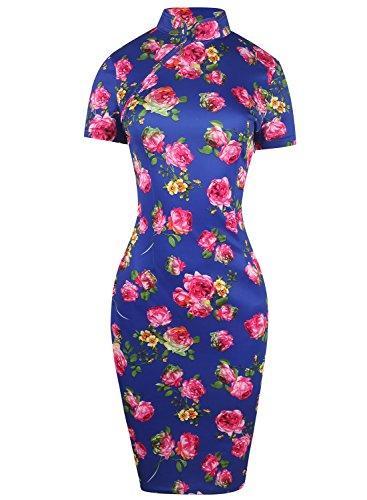 Oxiuly Women's Retro Print Stretch Short Sleeve Stand Collar Sheath Dress OX183 (L, Blue)