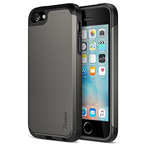 iPhone SE Case, Trianium [Protak Series] Ultra Protective Cases For Apple iPhone SE (2016) & iPhone 5S 5 [Gunmetal Gray] Dual Layer + Shock-Absorbing Hard Bumper - Iphone 5 Phone Case
