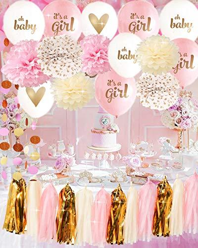 It's A Girl Ballon Baby Shower Decorations Pink Cream Glitter Gold Tissue Paper Pom Pom Polka Dot for Girl Baby Shower Decorations Pink Gold Party Decor -