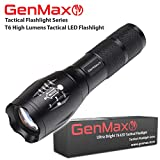 GenMax Water-Resistant Adjustable and Zoomable T6 Tactical LED Flashlight with 5 Modes