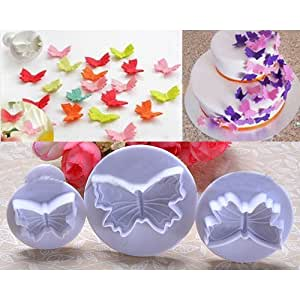 3Pcs/Set Butterfly Shape Fondant Cookie Cake Sugarcraft Plunger Cutters Mold Tools