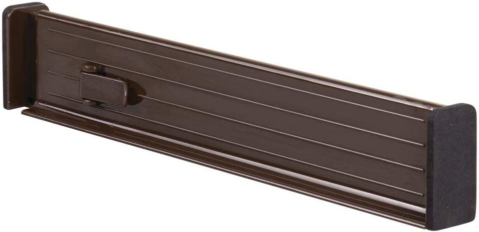 Closet for Bedroom Kitchen Storage Strong Secure Hold Expandable Drawer Organizer//Divider Office 2.5 High Locks in Place mDesign Adjustable 4 Pack Foam Ends Bathroom Chocolate Brown