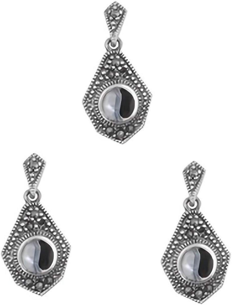 Glitzs Jewels 925 Sterling Silver Pendant with Stone in Gift Box Black