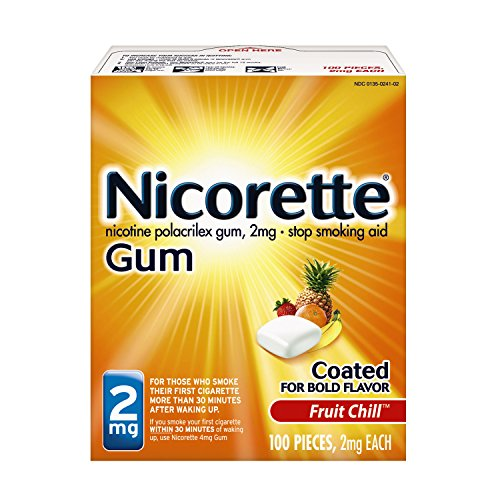 Nicorette Nicotine Gum Fruit Chill 2 milligram Stop Smoking Aid 100 count