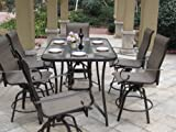 7pc Outdoor Swivel Bar Patio Furniture set with Cover