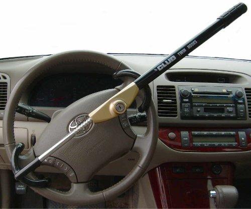 The Club 3100 Twin Hooks Steering Wheel Lock, Black/Gold