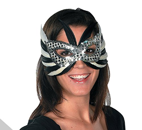 Mardi Gras New Year Eve Silver Feather Women Mask Beads Balloons Masquerade Costume Party (Costume Party Ideas For Adults)