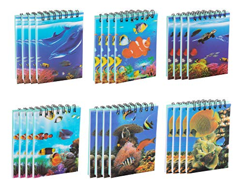 Spiral Notepad - 24-Pack Top Spiral Notebooks, Bulk Mini Spiral Notepads for Note Taking, To-do Lists, Kids Party Favors, Lined Paper, 6 Ocean Animals Themed 3D Cover Designs, 2.75 x 4.25 Inches