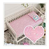 KFZ 100% Cotton Value Jersey Knit Fitted Crib Sheet, Portable Mini Crib Sheets,Convertible Playard Mattress Cover,Ultra Soft Material, Pink Blue Color for Baby Girl 1PC (Cat, Pink, 28'x59'x2')