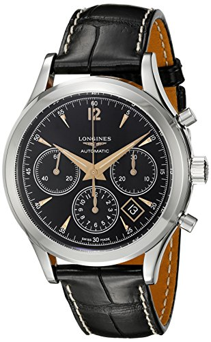Longines Men's Automatic Stainless Steel Casual Watch, Color:Black (Model: L27504560)
